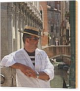 Gondolier In Venice Waiting For A Fare Wood Print