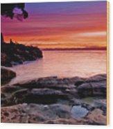 Gone Fishing At Sunset Wood Print
