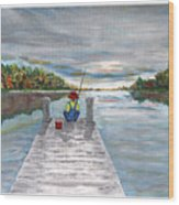 Gone Fishing Wood Print