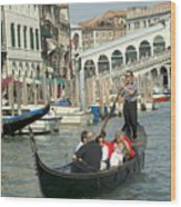 Gonfolas On Venice Canal At Rialto Bridge Wood Print