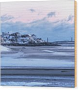 Good Harbor Beach And Thacher Island Covered In Snow Gloucester Ma Wood Print