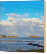 Good Harbor Clouds And Sun Wood Print