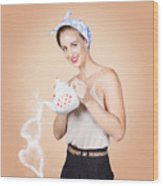 Good Looking Female Pouring Hot Coffee Love Wood Print