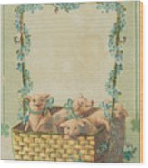 Good Luck Basket With Pigs Wood Print