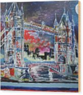 Goodnight Tower Bridge Wood Print