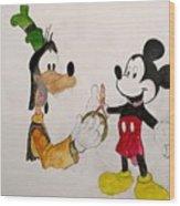 Goofy And Mickey Wood Print