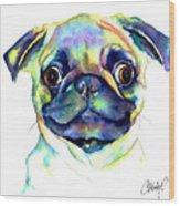 Google Eyed Pug Wood Print