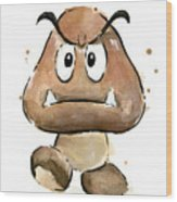Goomba Watercolor Wood Print