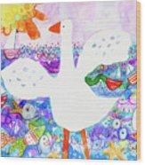 Goose At The Beach Wood Print