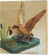 Goose Landing Wood Print