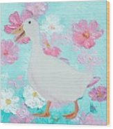 Goose On Floral Background Wood Print