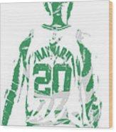 Gordon Hayward Boston Celtics Pixel Art T Shirt 5 Wood Print