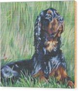 Gordon Setter In The Grass Wood Print