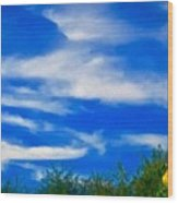 Gorgeous Blue Sky With Clouds Wood Print