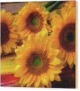 Gorgeous Lovely Sunflowers Wood Print