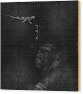 Gorilla And Lizard Wood Print