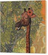 Gossiping Giraffe Wood Print