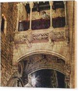Gothic Bridge At Night In Barcelona 2 Wood Print