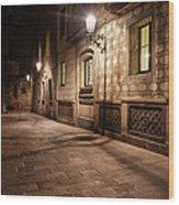 Gothic Quarter Of Barcelona At Night Wood Print