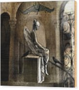 Gothic Surreal Angel With Gargoyles And Ravens  Wood Print by Kathy Fornal