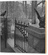 Surreal Gothic Gargoyle With Raven Black And White Gothic Gargoyles Gate Scene Wood Print