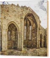Gothic Temple Ruins - San Domingos - Vintage Version Wood Print