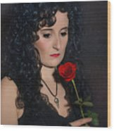 Gothic Woman With Rose Wood Print