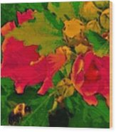 Gouache Painting Flower And Bumble Bee Wood Print