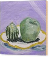 Gourd And Green Apple On Haviland Wood Print