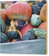 Gourds In A Crate Wood Print