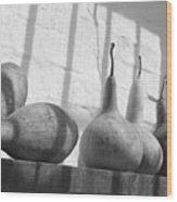 Gourds On A Shelf Wood Print