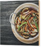 Gourmet Clam And Vegetable Seafood Stew In Spicy Tomato Sauce Wood Print