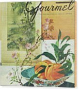 Gourmet Cover Featuring A Bowl Of Peaches Wood Print