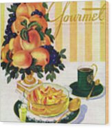 Gourmet Cover Featuring A Centerpiece Of Peaches Wood Print