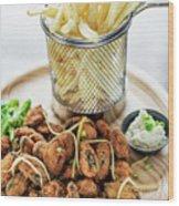 Gourmet Fried Octopus Calamari Style Set Meal With Fries Wood Print