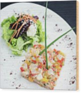 Gourmet Raw Tuna Tartare Ceviche With Mango Lime And Chilli Wood Print