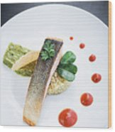Gourmet Salmon Fish  Fillet With Rice And Guacamole Meal Wood Print