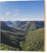 Govetts Leap Lookout Panorama, Australia Wood Print