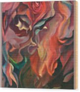 Grace And Desire - Floral Abstract With Border And Title Wood Print