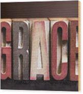 Grace - Antique Letterpress Letters Wood Print