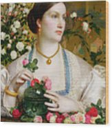Grace Rose Wood Print by Anthony Frederick Augustus Sandys