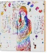 Grace Slick Jefferson Airplane Paint Splatter Wood Print