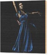 Graceful Dancer In Blue Wood Print