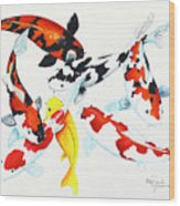 Graceful Koi Wood Print