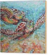 Sea Turtle Buddies Wood Print