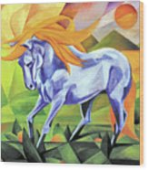 Graceful Stallion With Flaming Mane Wood Print