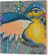 Graffiti Art Of A Colorful Bird Along Street IIn Hilly Valparaiso-chile Wood Print