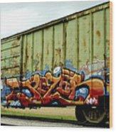 Graffiti Boxcar Wood Print by Danielle Allard