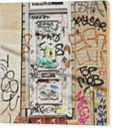 Graffiti Doorway New Orleans Wood Print