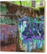 Graffiti Illusion Wood Print